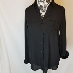 The Limited Ashton Button Long Sleeve Black Blouse